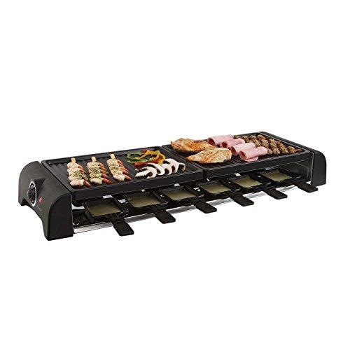Großer Raclette Grill 12 Personen Grillplatte Tischgrill Elektrogrill 2 Grillplatten (12 Pfännchen, 1800 Watt, Antihaftbeschichtung, Party Grill)