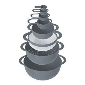 Oishii MixMaster Schüssel-Set Rund: Küchen-Sieb, Rührschüssel, Salatschüssel & Messbecher (Cup) in Grau