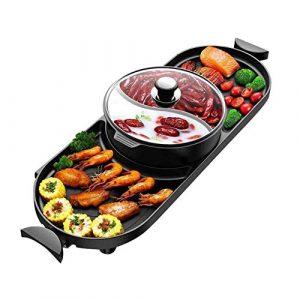 JGWHW Elektrogrill Indoor Hot Pot Multifunktionaler Teppanyaki-Grill/Shabu Shabu-Topf mit Teiler – Separate Doppeltemperaturregelung